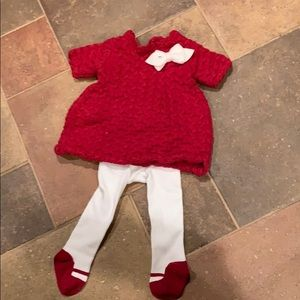 Red sweater Christmas dress with matching tights